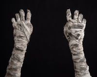 Halloween theme: terrible old mummy hands on a black background Stock Photography