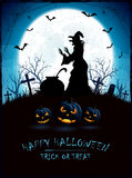 Halloween theme with witch on cemetery royalty free illustration