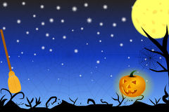 Halloween themed background with black shadows, moon and broom. Vector, eps10 royalty free illustration