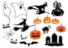 Halloween themed design elements and characters Stock Images