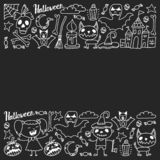 Halloween themed doodle set. Traditional and popular symbols - carved pumpkin, party costumes, witches, ghosts, monsters vector illustration