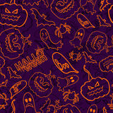Halloween themed seamless vector background Stock Photo