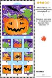Halloween logic picture puzzle with pumpkin, bats and spider - what does not belong? Royalty Free Stock Photo