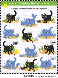 Halloween shadow game with black cat. Halloween themed visual puzzle or picture riddle with black cat: Can you find the shadow for each picture? Answer included stock illustration