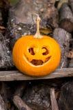 Halloween themes. Autumn halloween jack-o-lantern on autumn wooden background. Autumn halloween jack-o-lantern on autumn wooden background stock photos