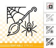 Halloween spider web simple black line vector icon stock illustration