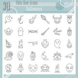 Halloween thin line icon set, horror symbols collection, vector sketches, logo illustrations, creepy signs linear. Pictograms package isolated on white vector illustration