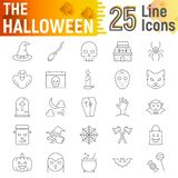 Halloween thin line icon set, spooky symbols collection, vector sketches, logo illustrations, horror signs royalty free illustration