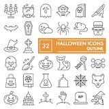 Halloween thin line icon set, spooky symbols collection, vector sketches, logo illustrations, scary signs linear. Pictograms package isolated on white royalty free illustration