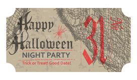 Halloween ticket for party, 31 october, vintage style. Vector illustration Royalty Free Stock Image