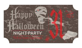 Halloween ticket for party, 31 october, vintage style. Vector illustration Royalty Free Stock Images