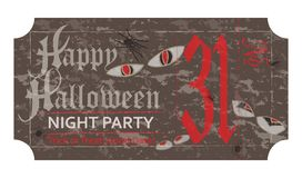 Halloween ticket for party, 31 october, vintage style. Vector illustration Royalty Free Stock Photo