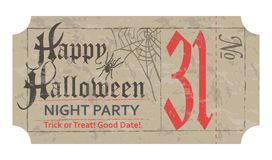 Halloween ticket for party, 31 october, vintage style. Vector illustration Stock Image