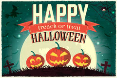 Halloween time background concept in retro style. Royalty Free Stock Photos
