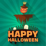 Halloween time background concept in retro style. Stock Photo
