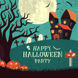 Halloween time background concept in retro style. Royalty Free Stock Photo
