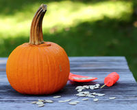 Halloween Time. A Halloween pumpkin with pumpkin seeds and carving tools lying about.  Dramatic lighting to set the mood for Halloween Royalty Free Stock Image