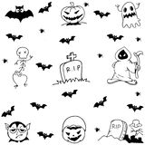 Halloween tomb, evil and ghost doodle set Royalty Free Stock Image