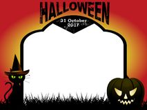 Halloween tombstone copy space background. Halloween Copy Space Blank Tombstone with Decorative Text abd Date cat and pumpkin Over Red and Yellow Background Stock Photo