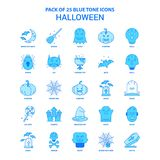 Halloween Tone Icon Pack bleue - 25 ensembles d'icône illustration de vecteur