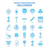 Halloween Tone Icon Pack bleue - 25 ensembles d'icône illustration stock