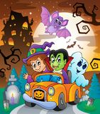 Halloween topic scene 7 stock illustration