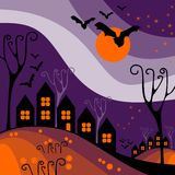 Halloween town. Perfect illustration for Halloween holiday Royalty Free Stock Images