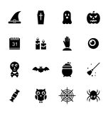 Halloween Traditional Icons, Black Silhouettes Stock Images