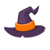 Halloween traditional witch hat with strap in cartoon and flat style  on white background. Vector illustration. Stock Photography
