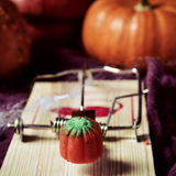Halloween trap. Closeup of a pumpkin-shaped candy on a mousetrap, on a surface ornamented for Halloween with different pumpkins and cobwebs Royalty Free Stock Photography