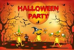 Halloween, tre zucche divertenti, children& x27; illustrazione di s su un fondo arancio Fotografie Stock Libere da Diritti