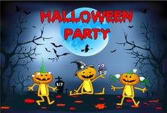 Halloween, tre zucche divertenti, children& x27; illustrazione di s su un fondo blu Immagine Stock