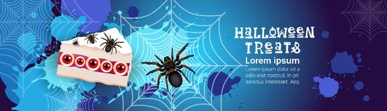 Halloween Treats Banner Happy Holiday Concept Greeting Card Horror Party Scary Sweets. Flat Vector Illustration Stock Image