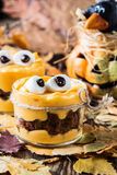 Halloween treats, little monster dessert Stock Image