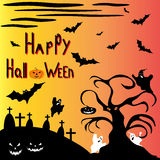 Halloween tree against a haunted cemetery vector illustration Stock Photo