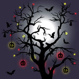 Halloween tree with bats and moon. Vector Royalty Free Stock Image