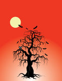 Halloween tree. With bats and owl vector illustration