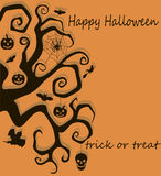 Halloween tree decoration. Vector illustration of banner with Halloween tree and other Halloween symbols, including pumpkin, witch, ghost and spider Stock Image