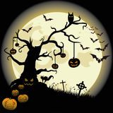 Halloween Tree Full Moon Bat Cross Pumpkin Stock Photography