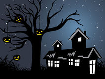 Halloween tree, house on background Stock Photos