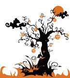 Halloween tree with jack o lantern. Owl, cat, moon Royalty Free Stock Photography