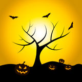 Halloween Tree Means Trick Or Treat And Bat Royalty Free Stock Photos