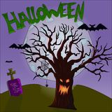 Halloween tree on moon background vector illustration