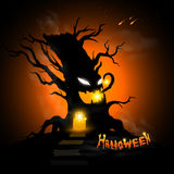 Halloween tree. At night with text and dark background Stock Image