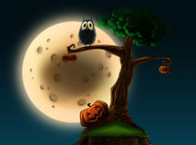Halloween tree with pumpkins. An illustration of a Halloween tree with pumpkins and an owl in front of a full moon royalty free illustration