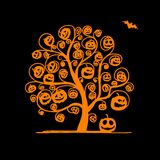 Halloween tree with pumpkins, sketch for your Royalty Free Stock Photography