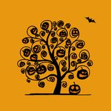 Halloween tree with pumpkins, sketch for your Stock Photos