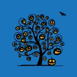 Halloween tree with pumpkins, sketch for your Royalty Free Stock Photo