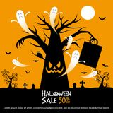 Halloween sale background. Halloween tree and sale text on orange color background Royalty Free Stock Photography