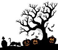Halloween tree silhouette theme 1. Eps10 vector illustration Royalty Free Stock Image